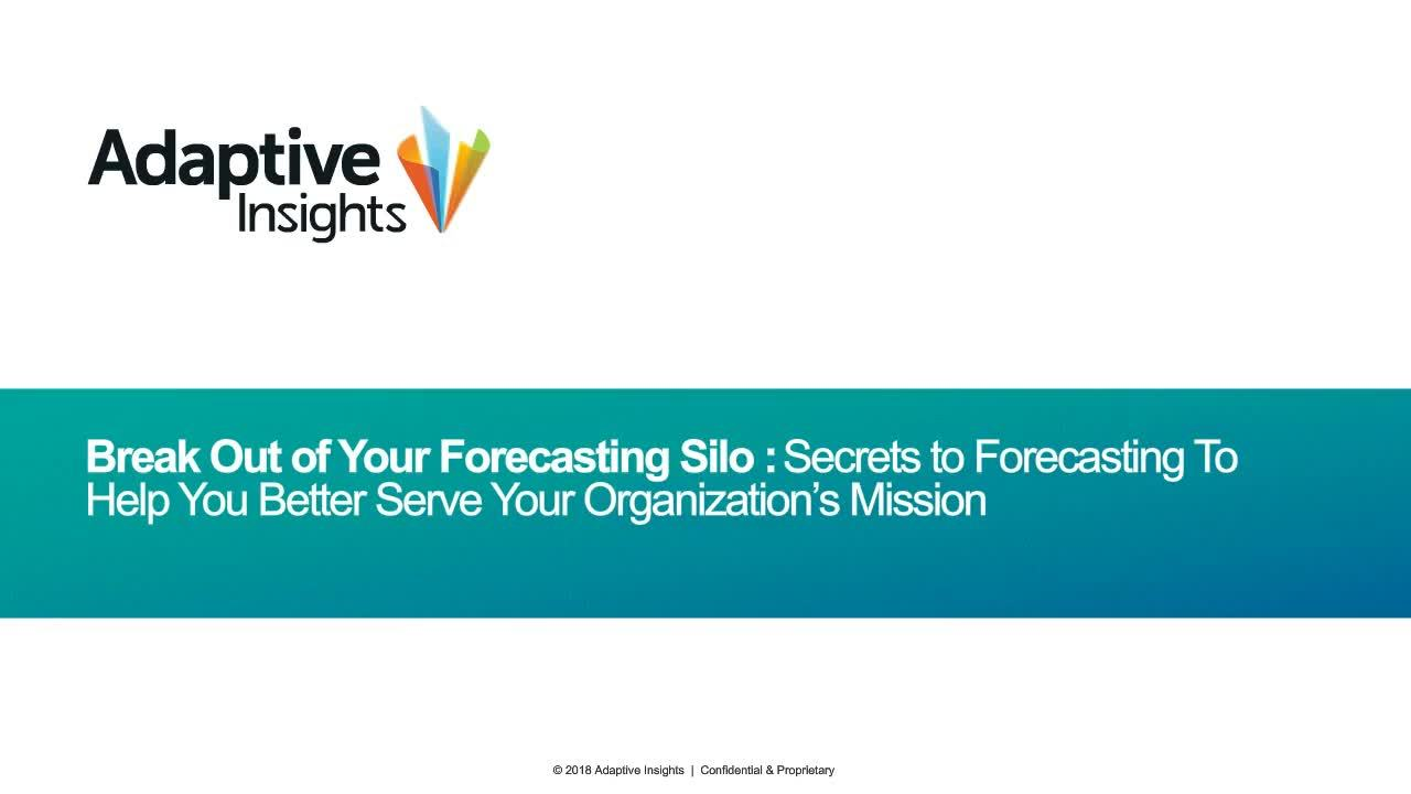 Screenshot for Break Out of Your Forecasting Silo: Financial Planning for Nonprofits