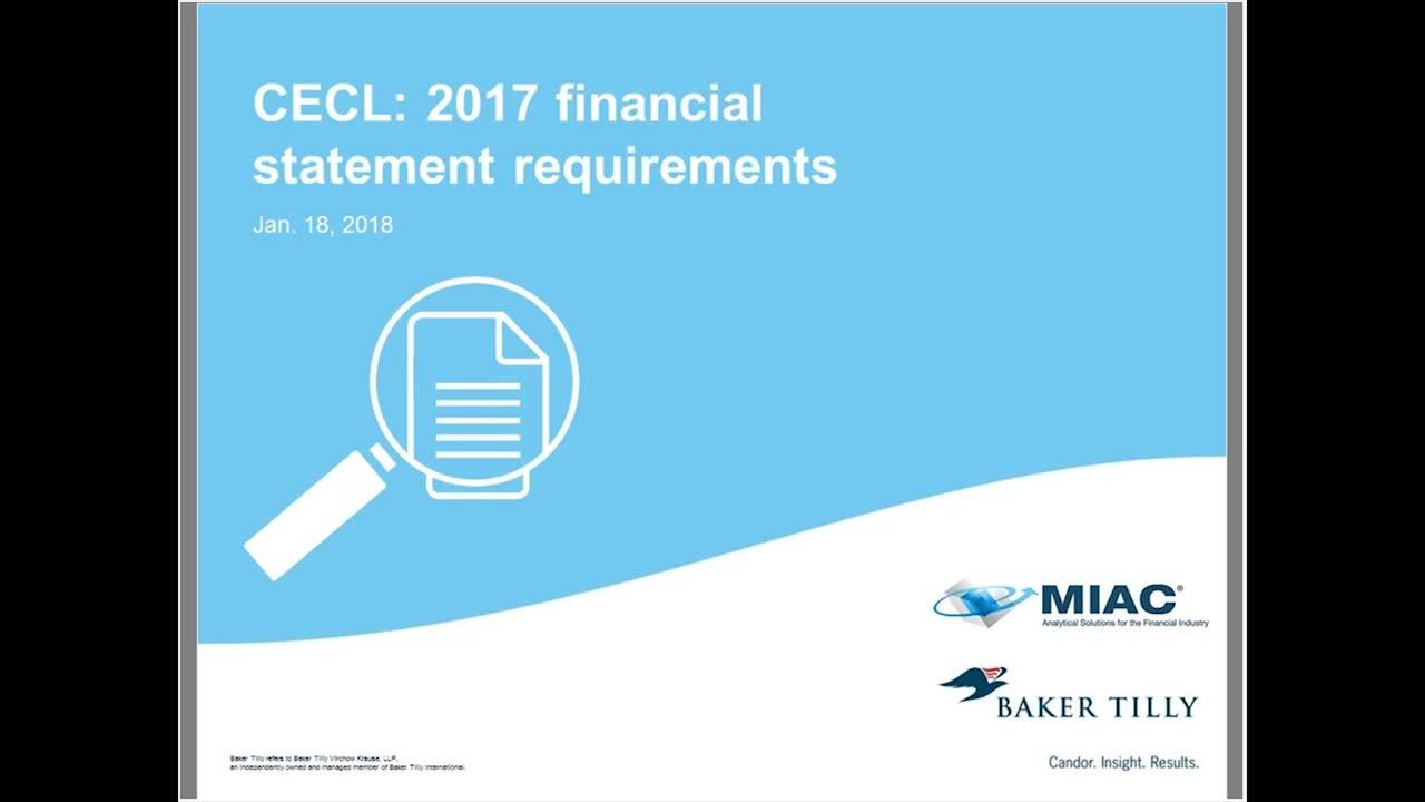 CECL 2017 financial statement requirements