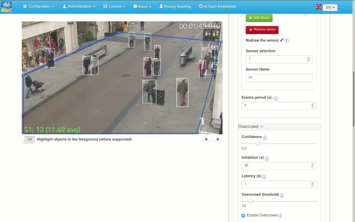 AI-CROWD-DEEP evaluating the number of persons inside an area by deep learning based technologies