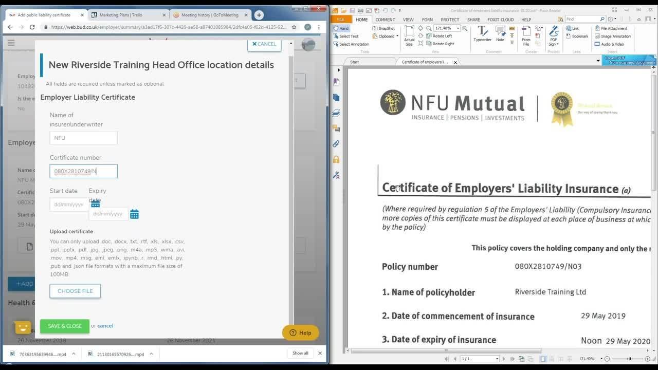 16. Adding a Liability Insurance Certificate