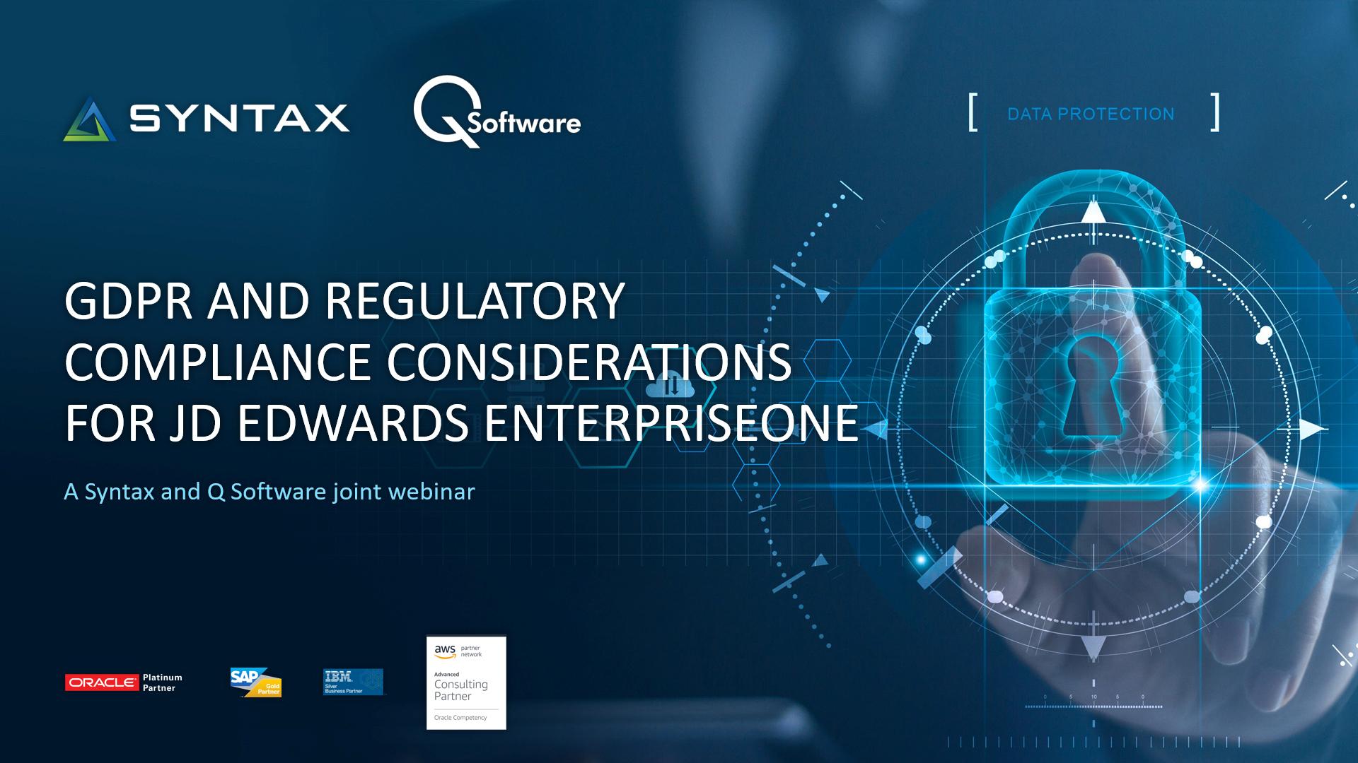 GDPR and Regulatory Compliance Considerations for JDE E1