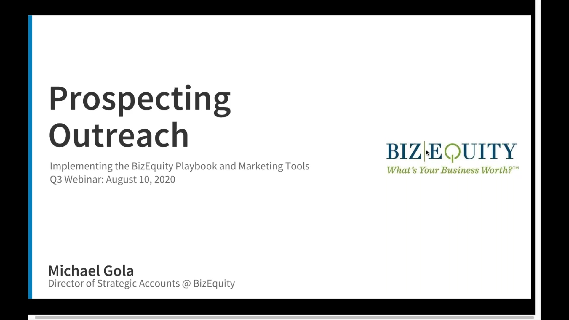 Prospecting Outreach - Implementing the BizEquity Playbook