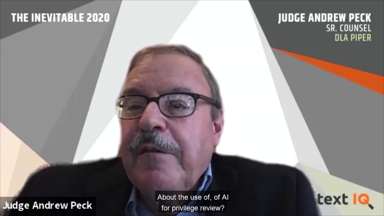 Judge Peck talking about defensibility of AI in privilege review