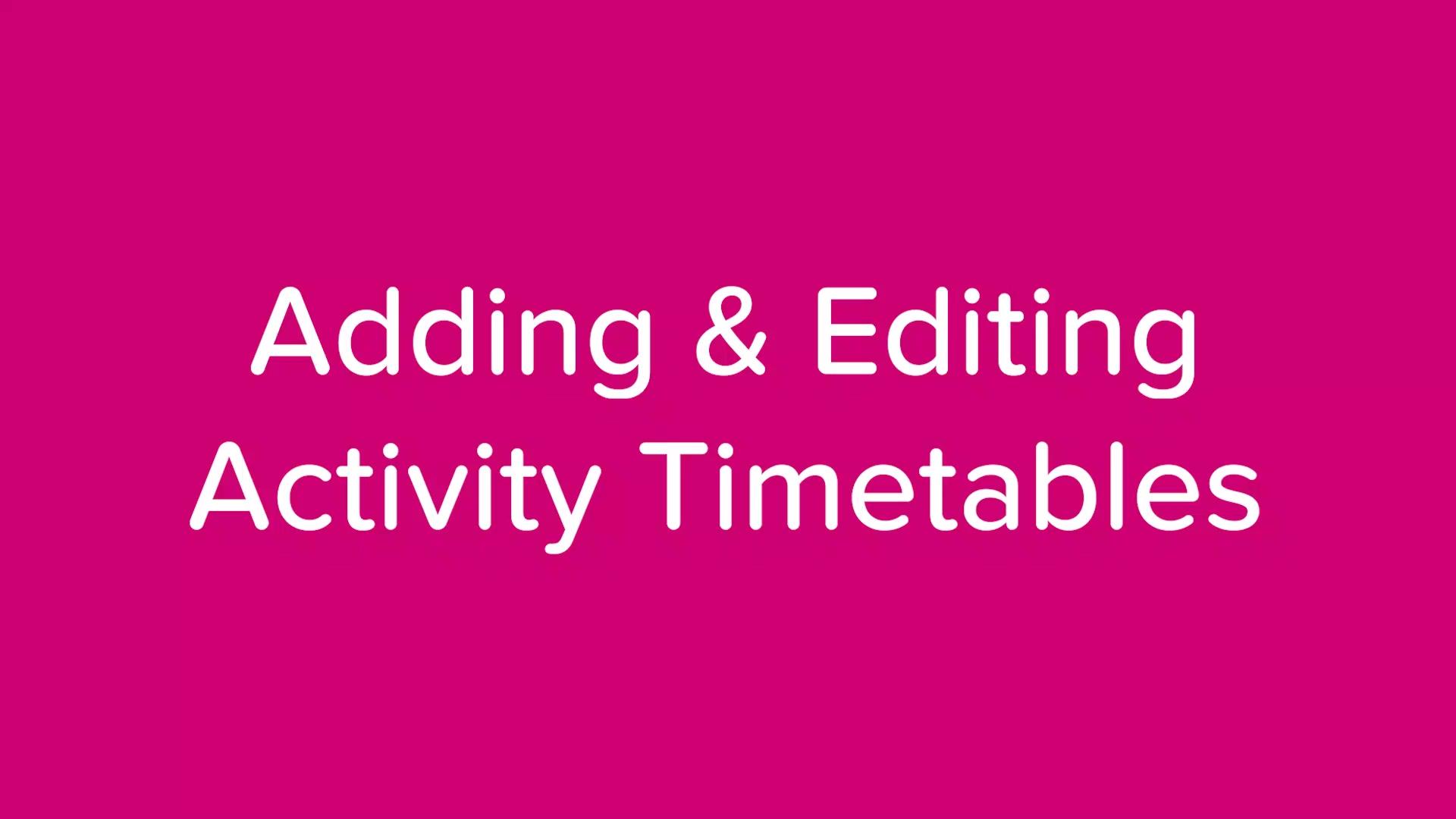 How to edit activities - Operator