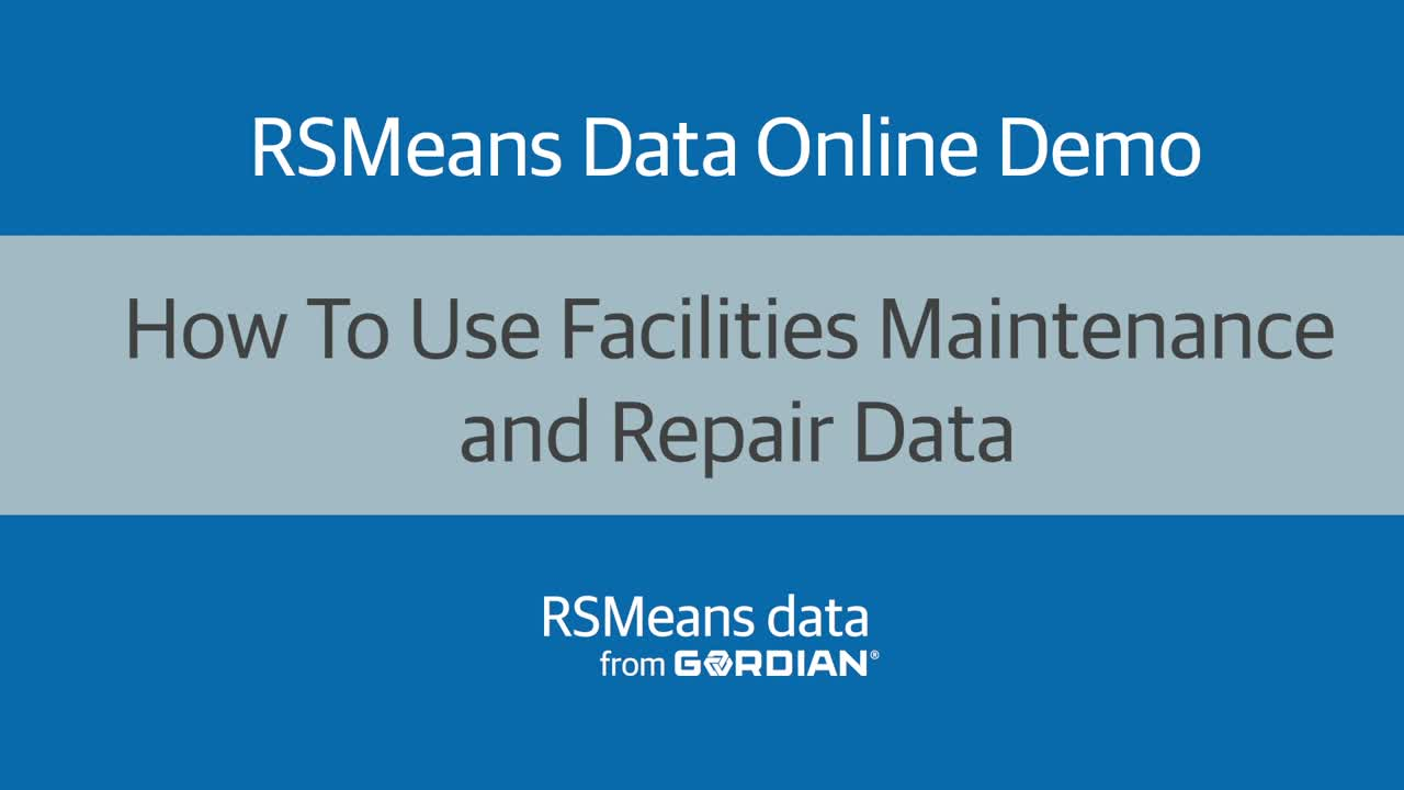 How To Use Facilities Maintenance and Repair Data