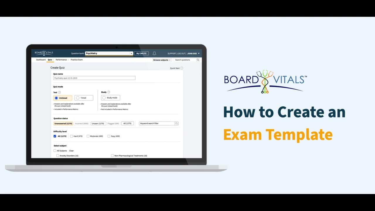 How to Create an Exam Template
