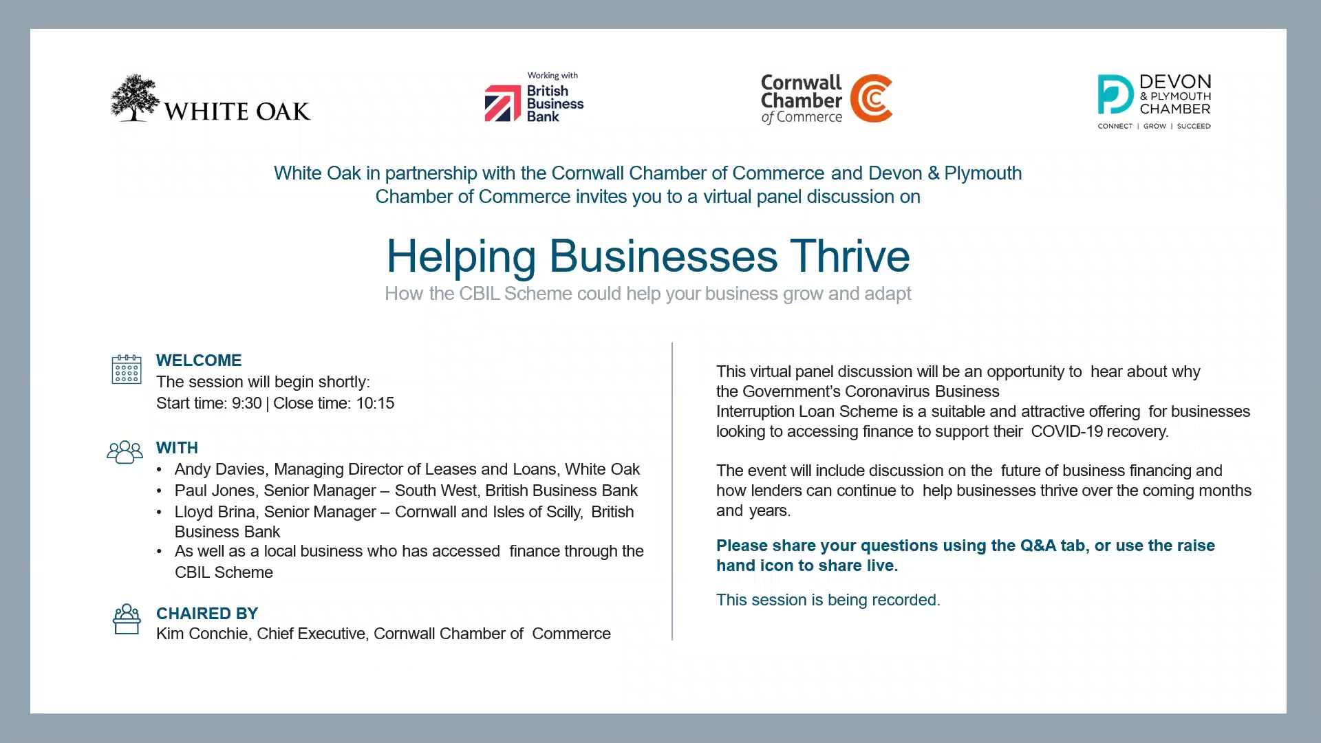 South West Cornwall Chamber of Commerce and Devon Plymouth Chamber of Commerce Panel Discussion