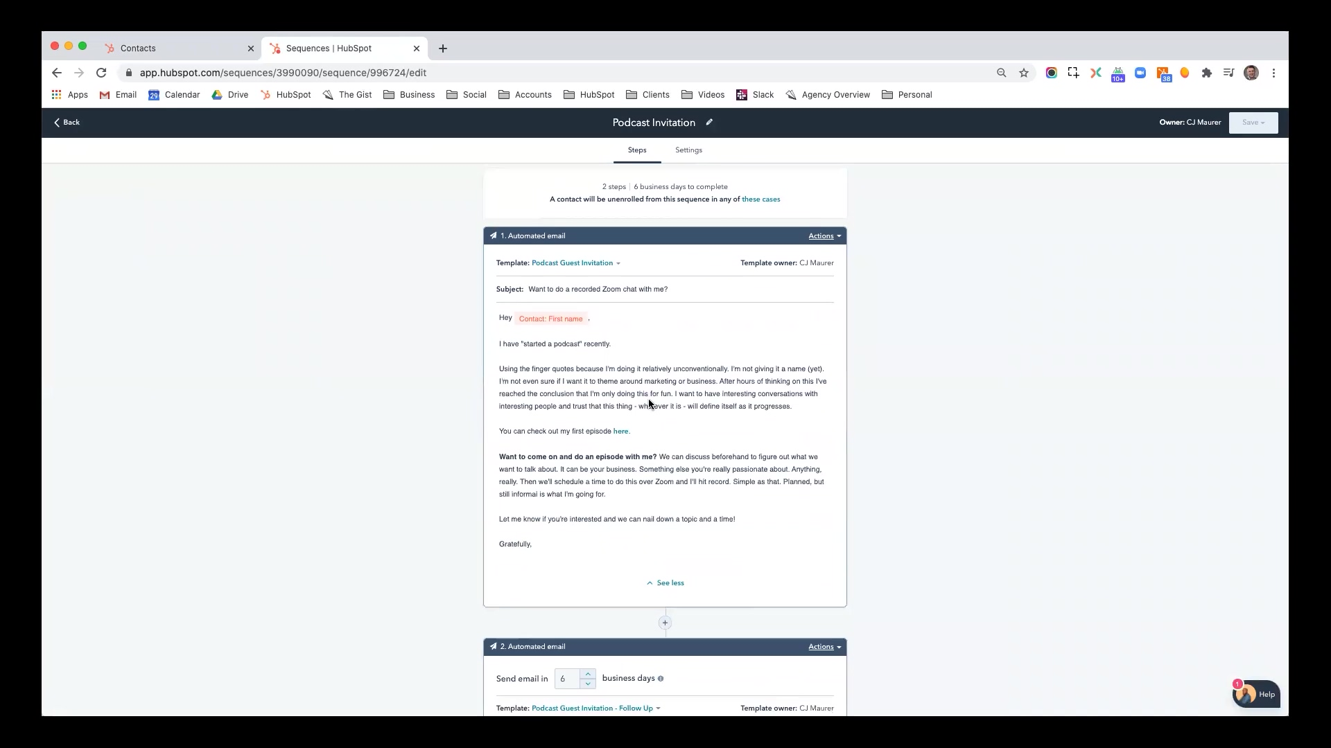 Hubspot - Automating Outreach with Sales Sequences