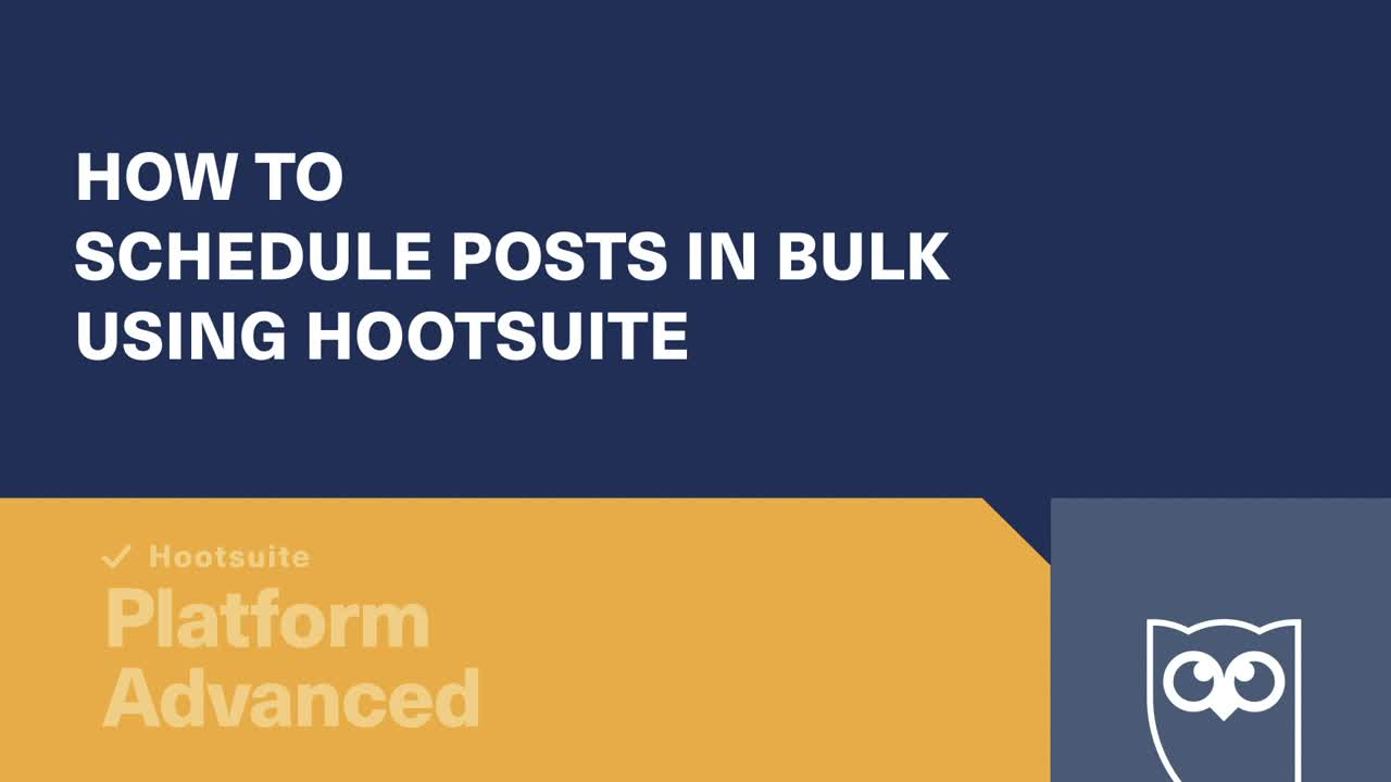 How to schedule posts in bulk using Hootsuite video