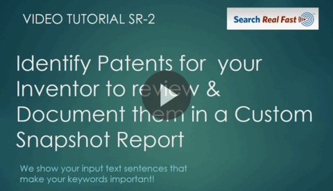 VIDEO SR-2 Identify Patients for your Inventor with a Custom Snapshot Report 10-22-2020