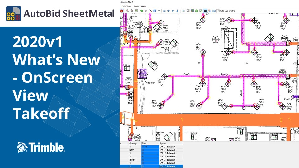 AutoBid SheetMetal 2020v1 What's New - OnScreen View Takeoff