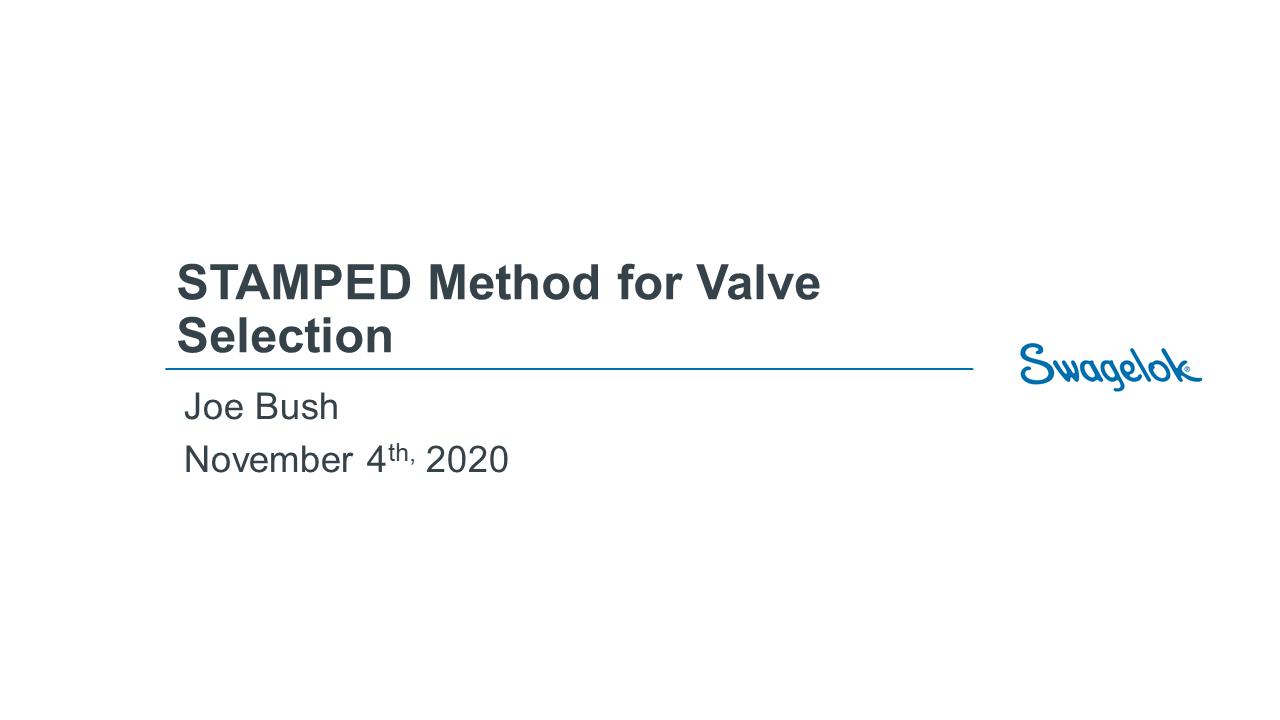 STAMPED Method for Valve Selection Webinar - 11.04.2020