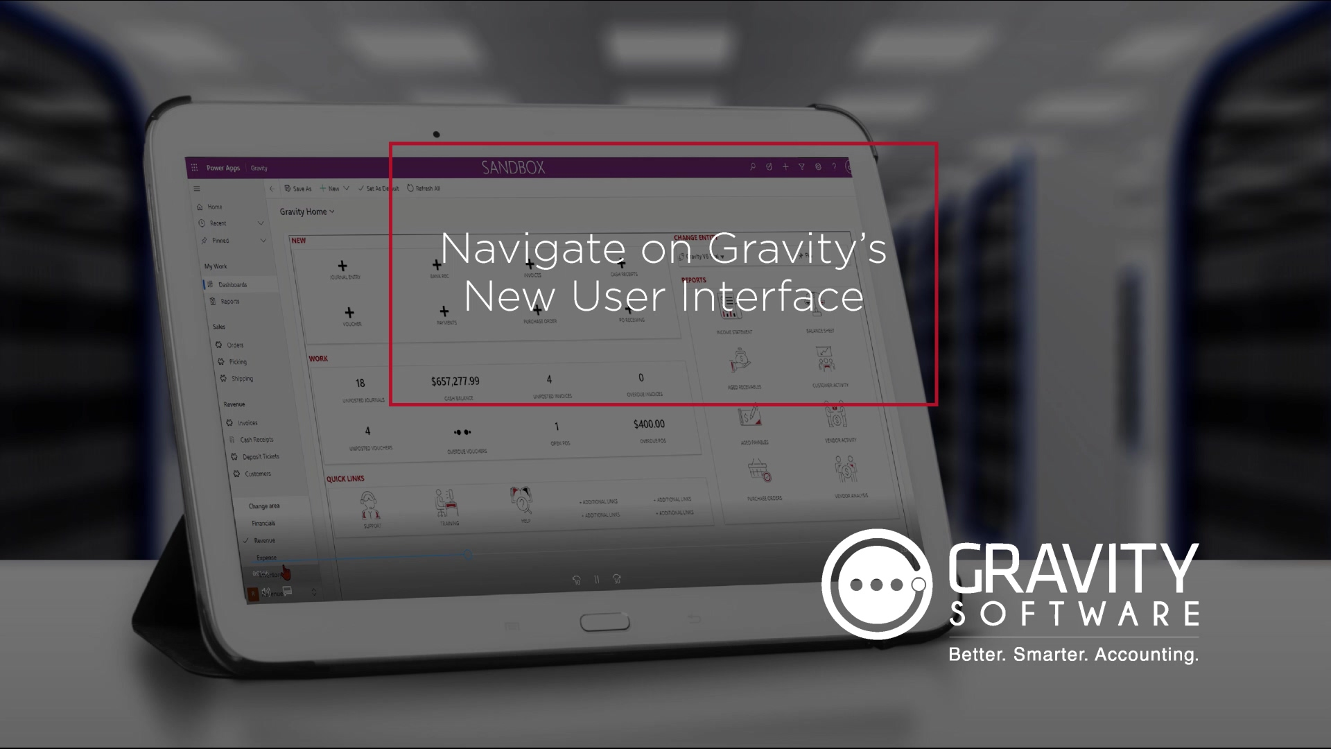 Gravity Software - Navigate on the new User Interface Version 6.0