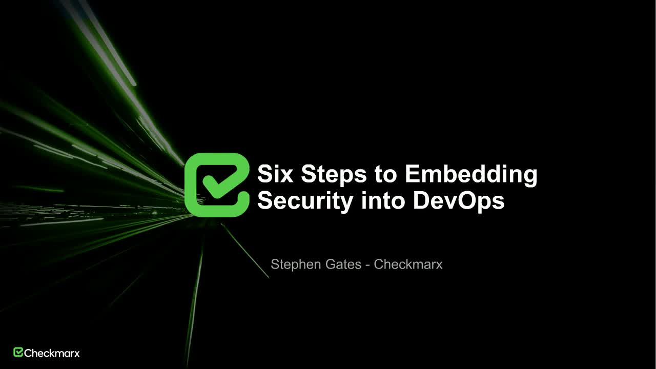 Webinar: Six Steps to Embedding Security into DevOps
