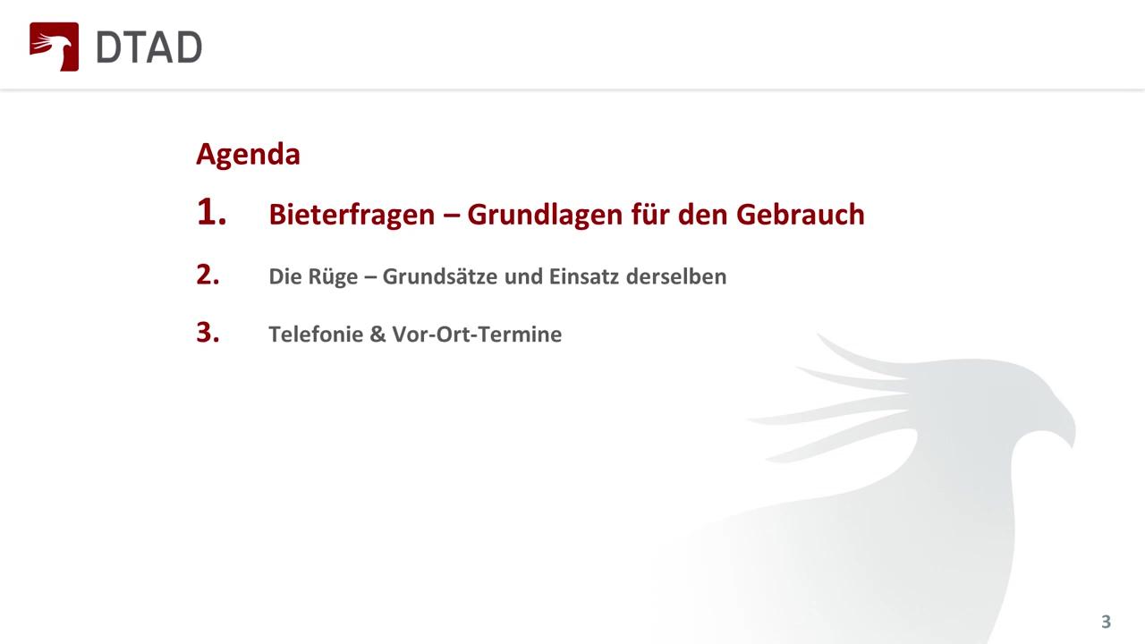 DTAD Webinar - Kommunikation im Vergabeverfahren