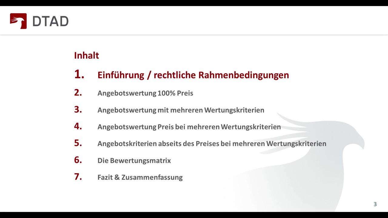 DTAD Webinar - Preis- und Bewertungskriterien