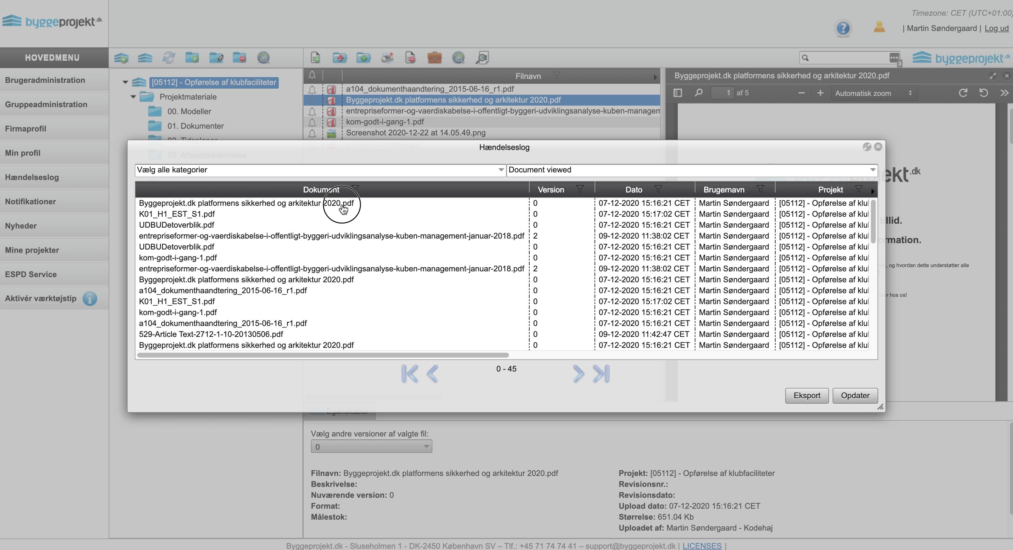 pdf-viewer-hændelseslog