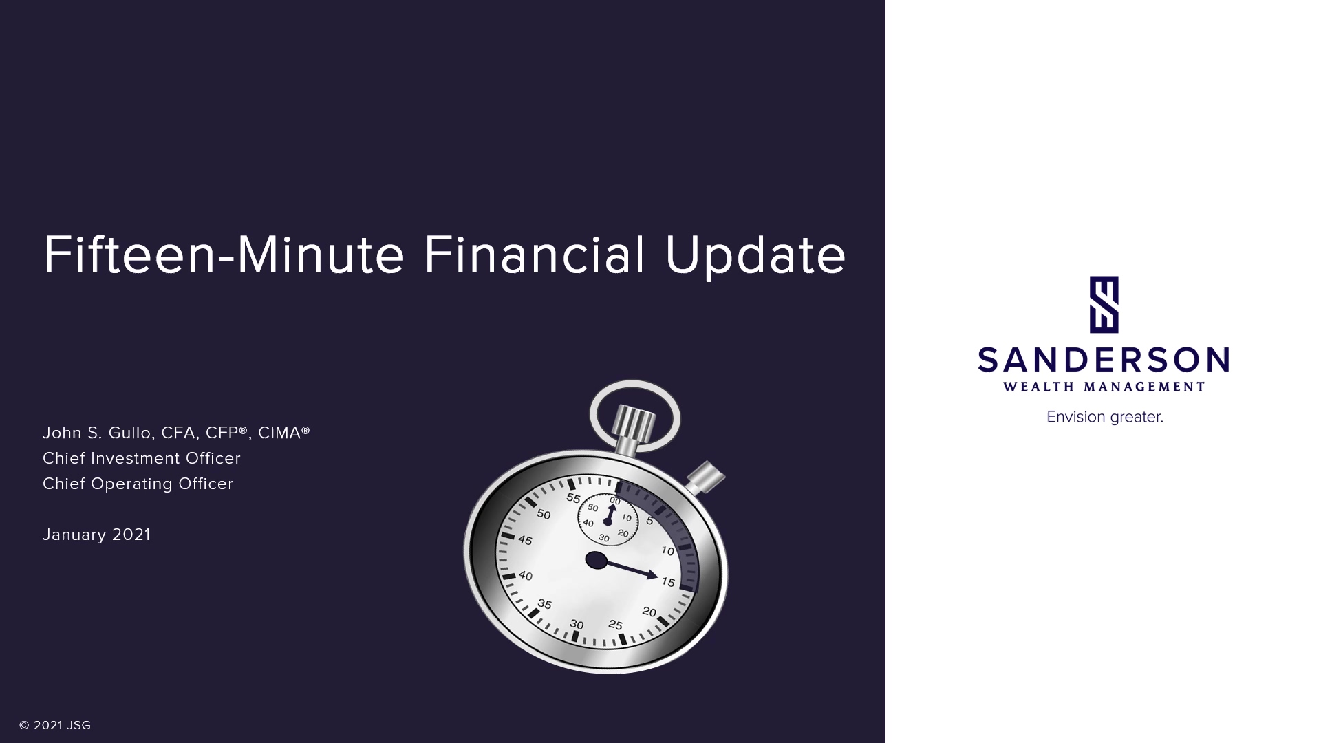 Fifteen Minute Financial Update Video for Forth Quarter 2020