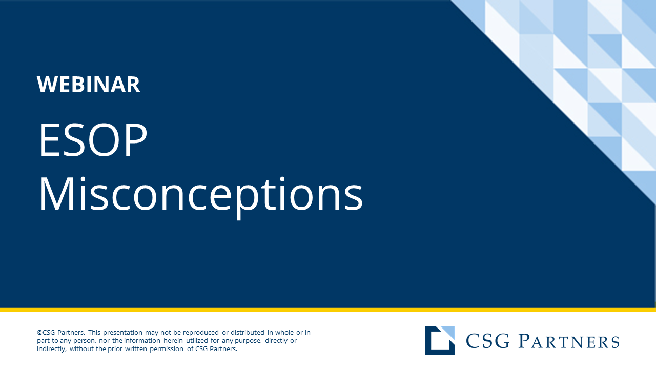 Q&A Webinar - ESOP Misconceptions (Full Length; Vistage Aug 2020)