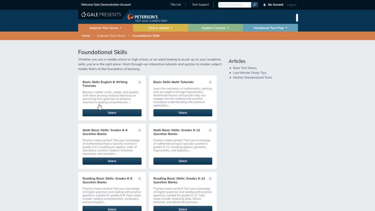 Gale Presents: Peterson's Test and Career Prep - Building Foundational Skills Thumbnail