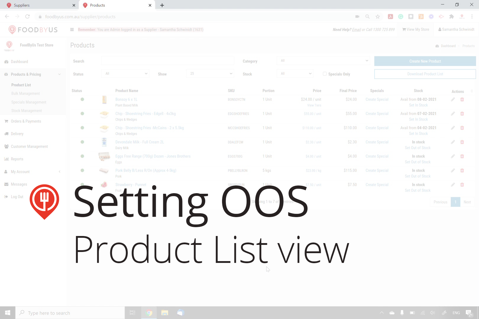 How to set out of stock items individually from product list