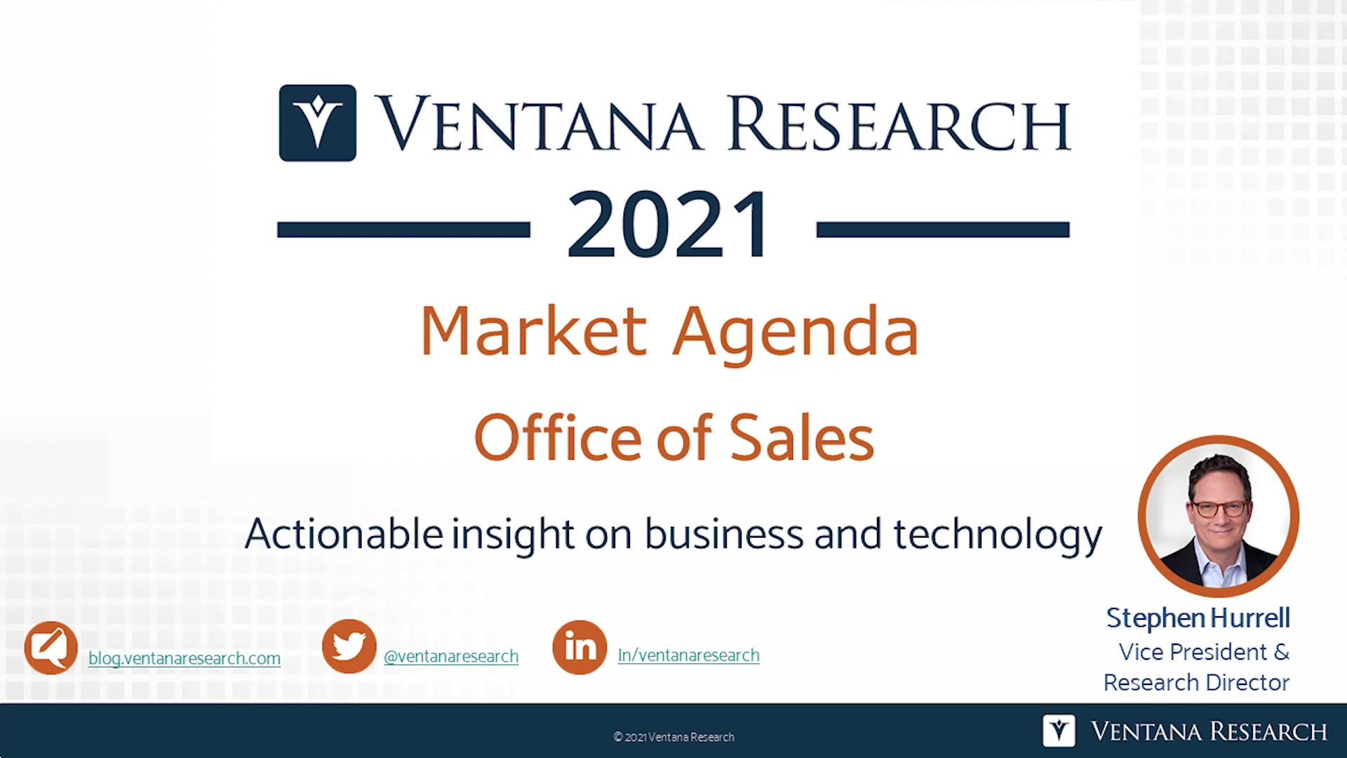 Ventana Research 2021 Market Agenda for Office of Sales