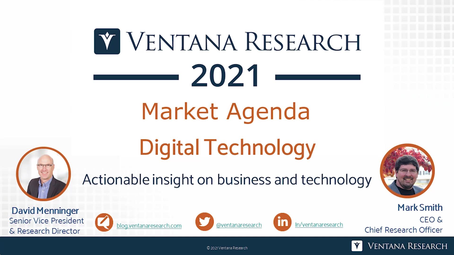Ventana Research 2021 Market Agenda for Digital Technology
