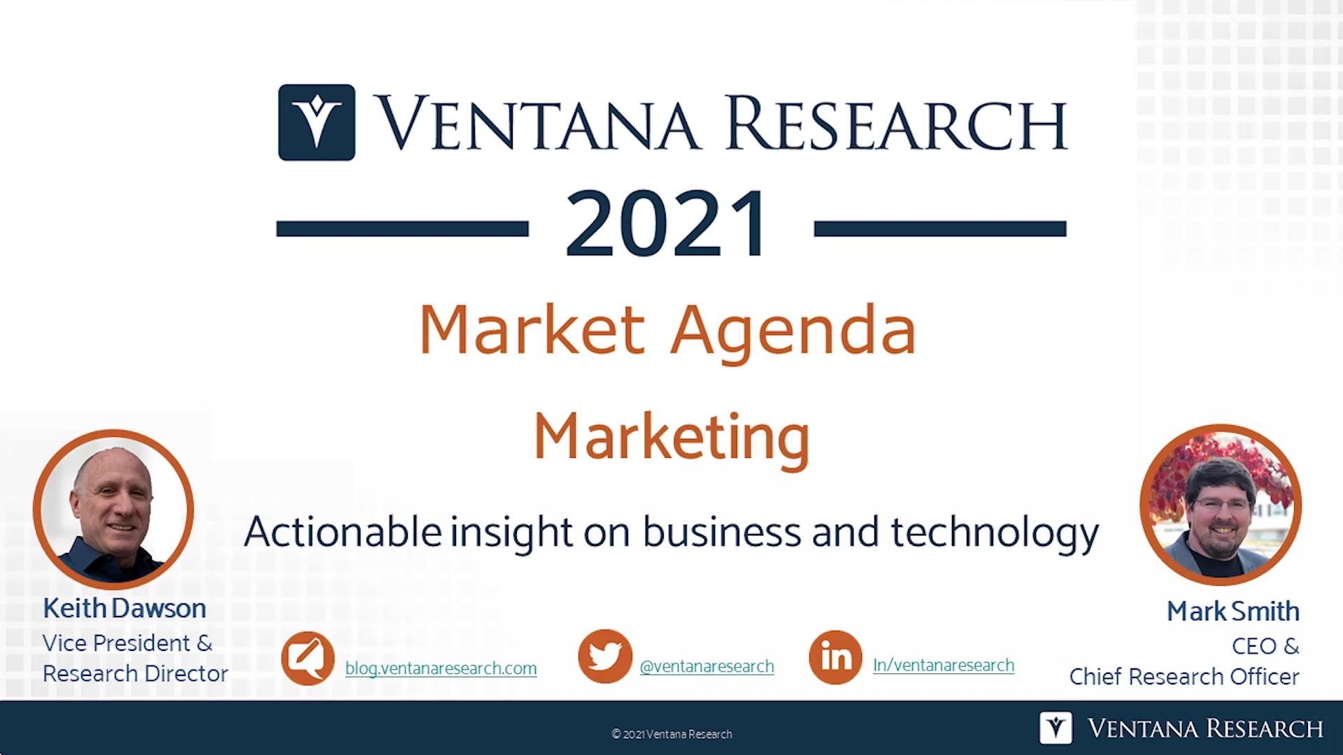 Ventana Research 2021 Market Agenda for Marketing