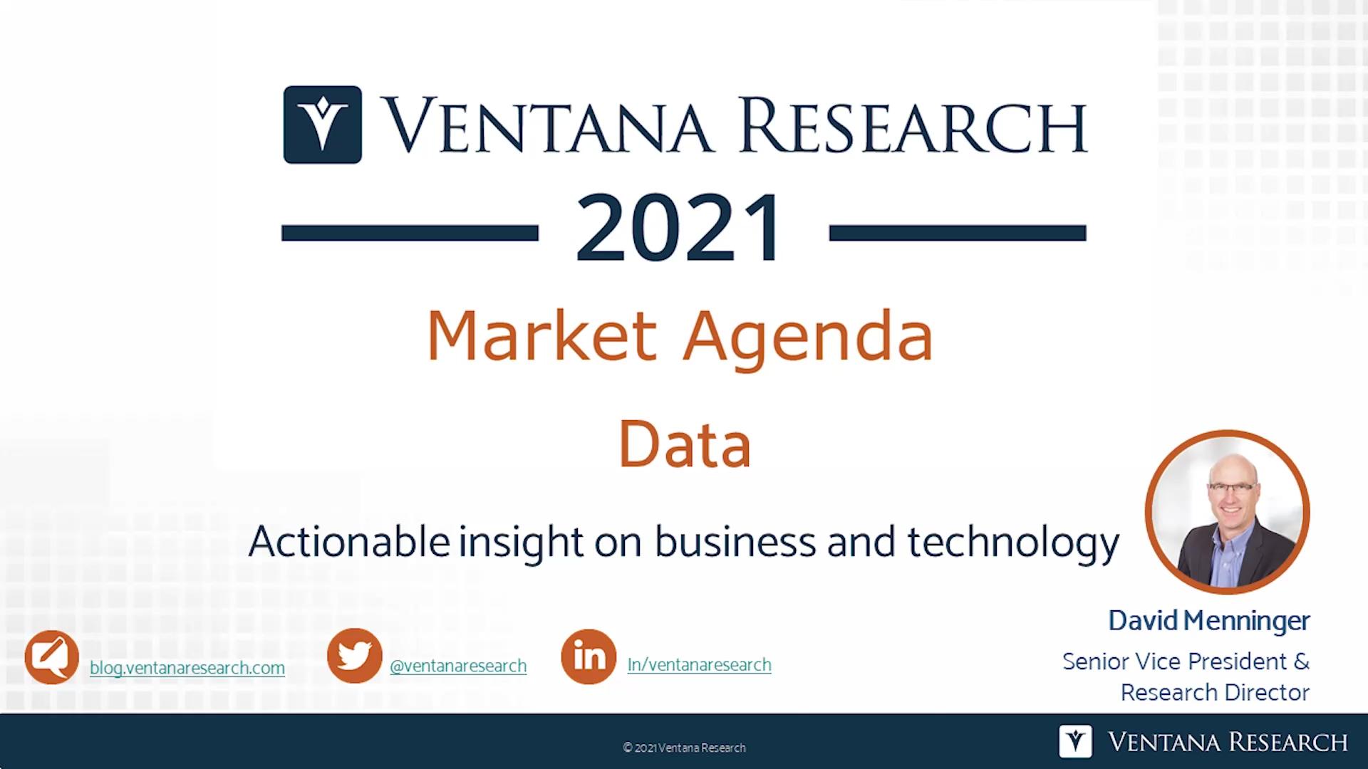 Ventana Research 2021 Market Agenda for Data