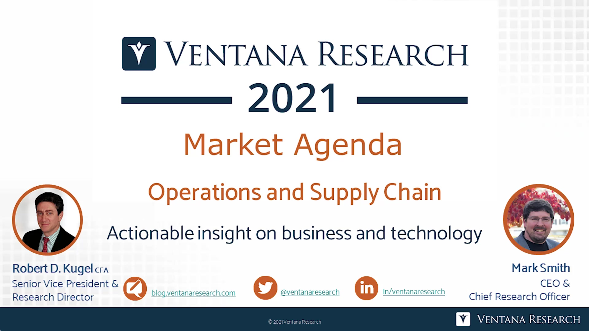 Ventana Research 2021 Market Agenda for Operations and Supply Chain