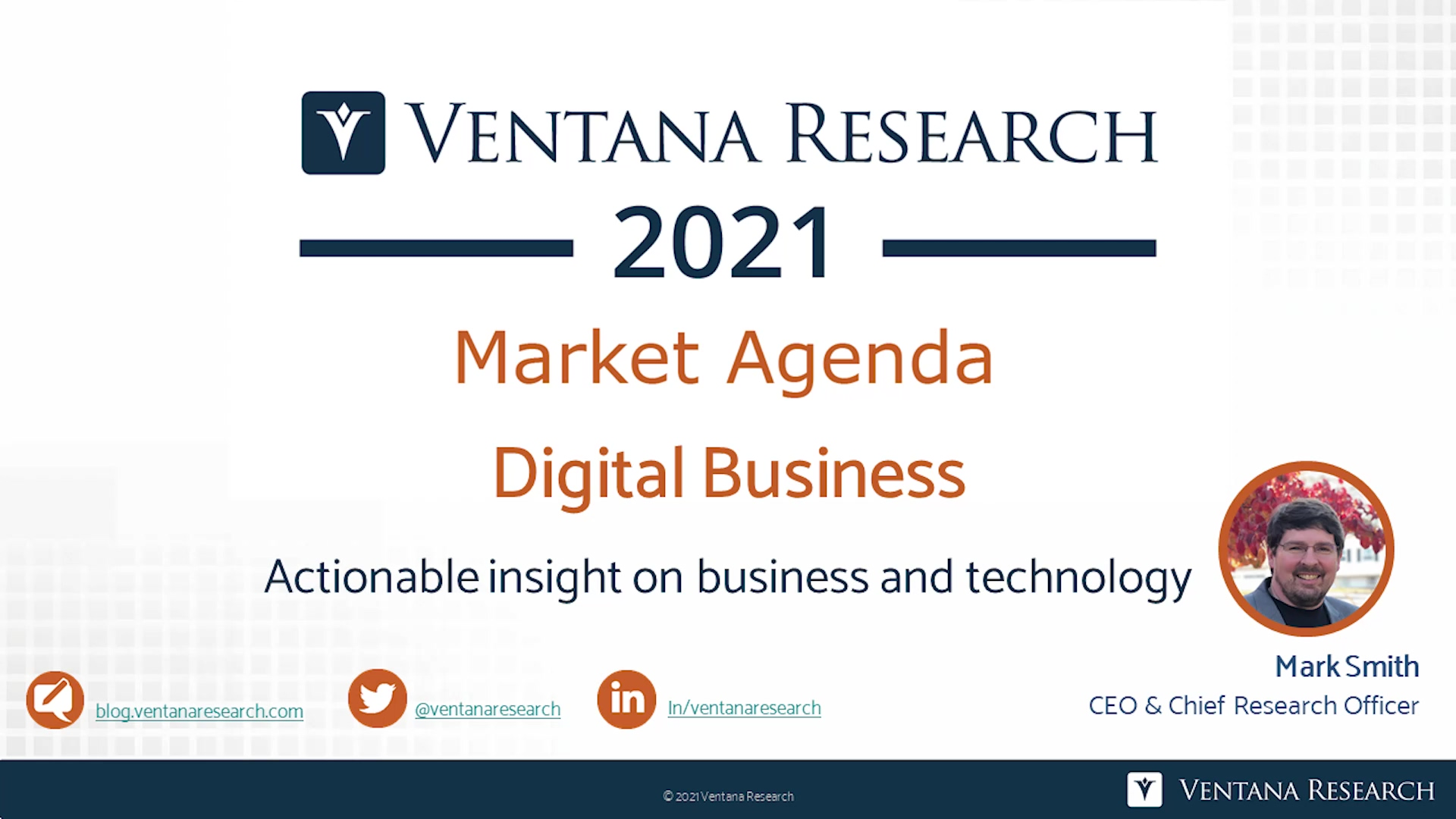 Ventana Research 2021 Market Agenda for Digital Business