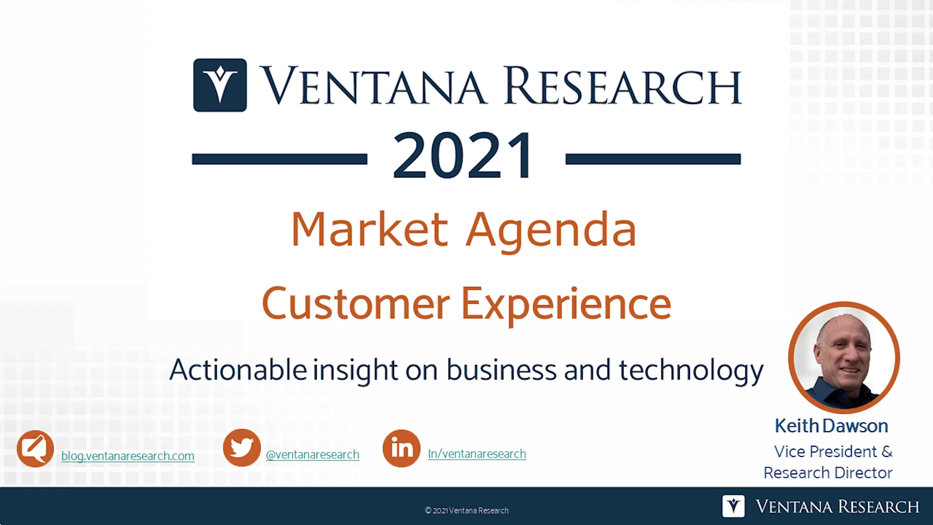 Ventana Research 2021 Market Agenda for CX
