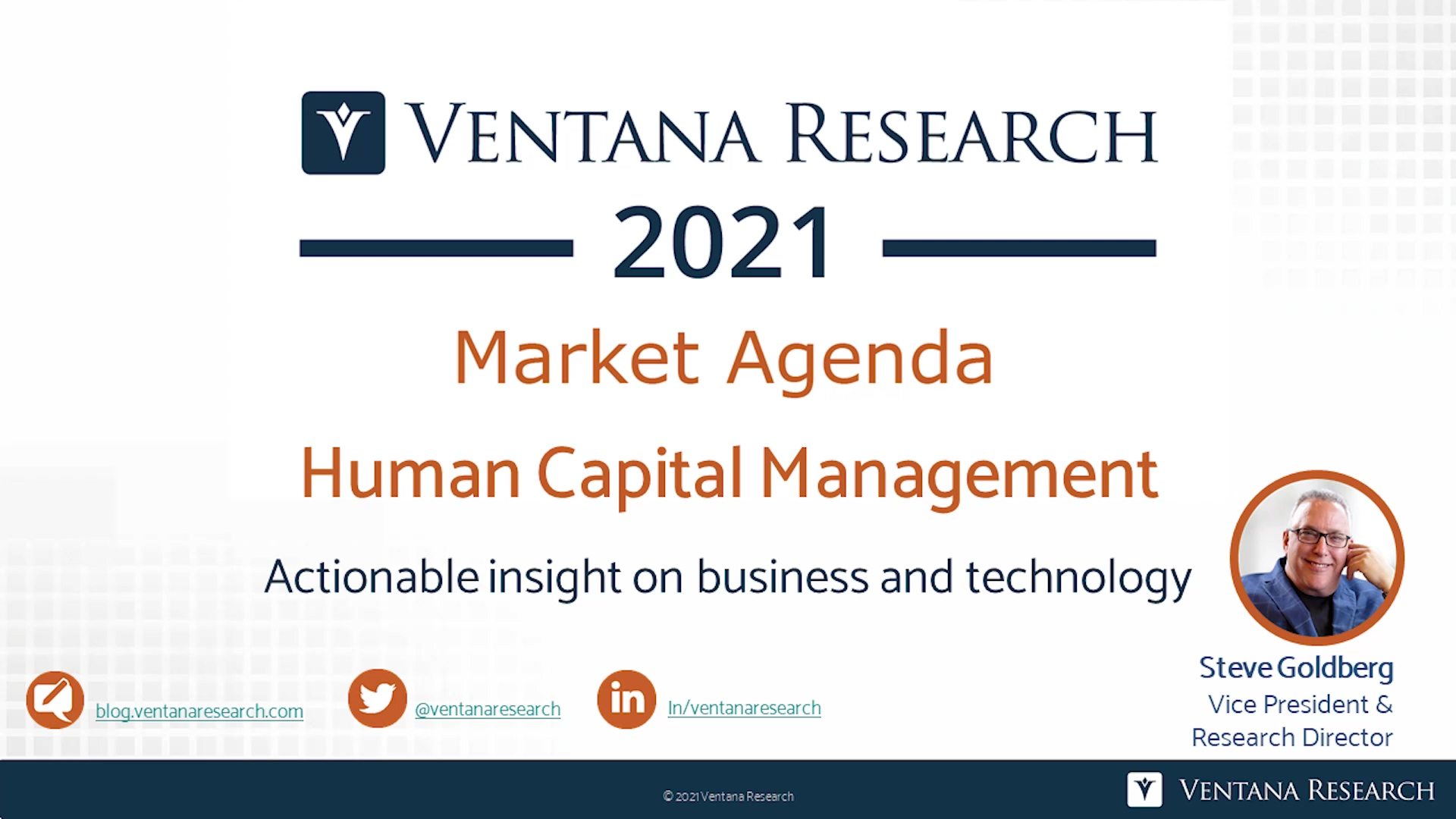 Ventana Research 2021 Market Agenda for HCM