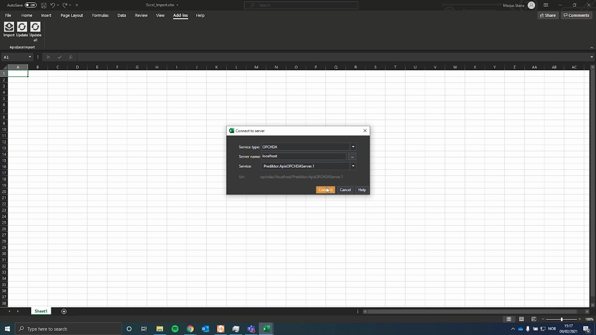 Prediktor Edge Excel import Data Exploration Tool