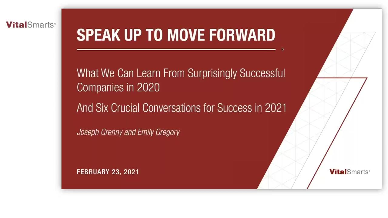 Webinar Speak Up To Move Forward