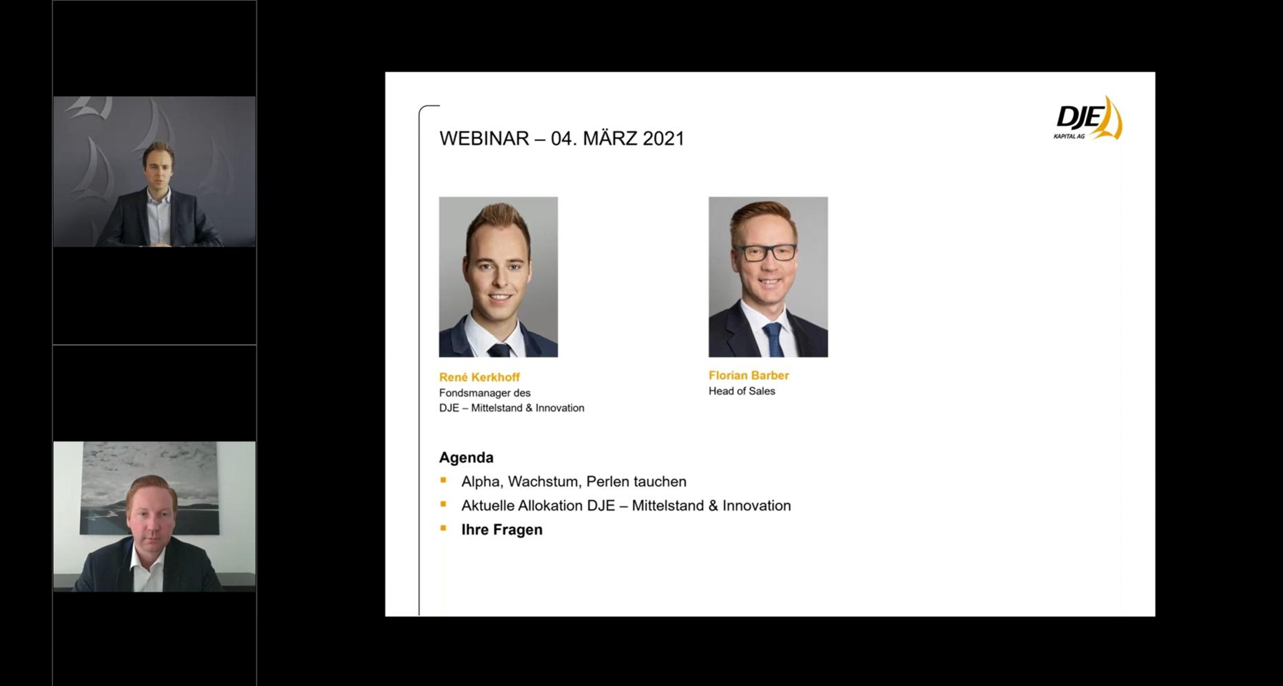 DJE-Webkonferenz zum DJE - Mittelstand und Innovation