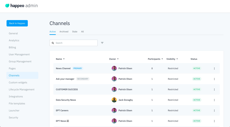 Admin channel settings