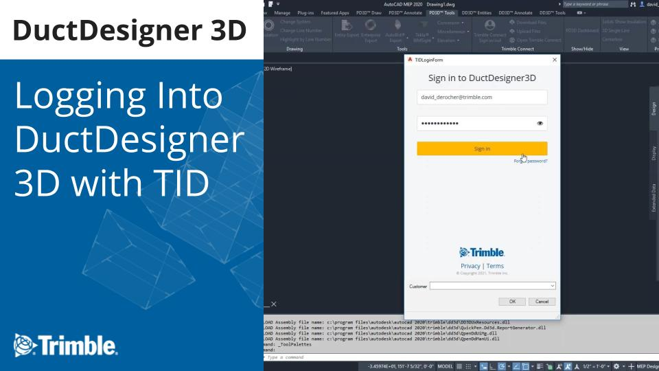Logging Into DuctDesigner 3D with TID