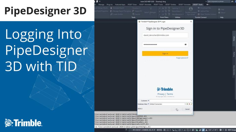 Logging Into PipeDesigner 3D with TID