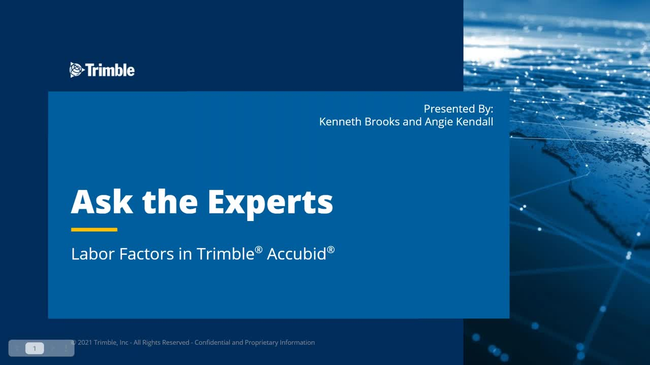 Ask the Expert - Labor Factors in Trimble® Accubid®