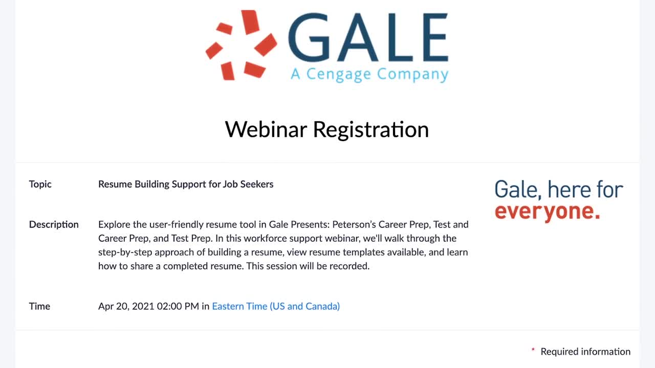 Resume Building Support for Job Seekers with Gale Presents: Peterson's Invite <span class = 'badge badge-success p-1'>New</span> Thumbnail