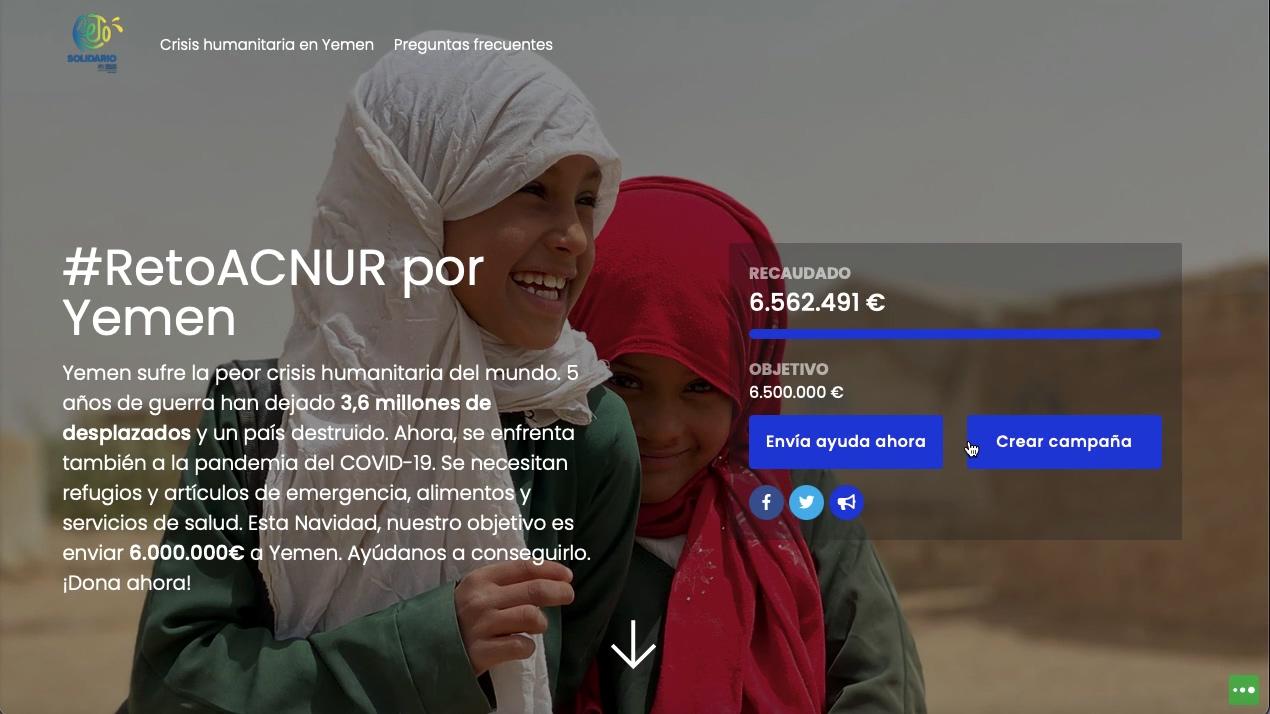 #RetoACNUR landing ejemplo de crowdfunding