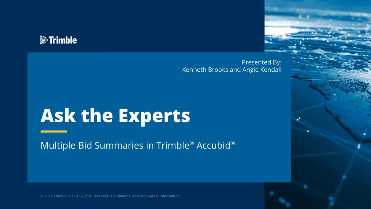 Ask the Expert - Creating Multiple Bid Summaries in Trimble® Accubid®