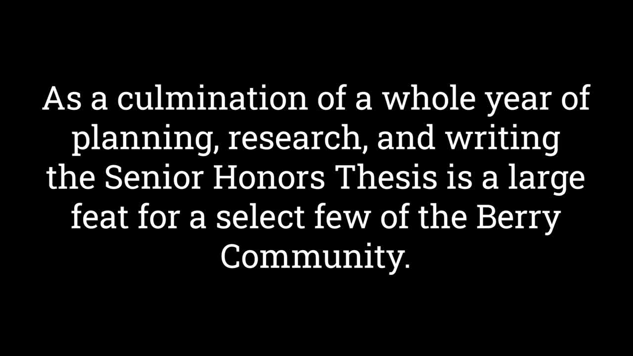Honors Program Thesis Video