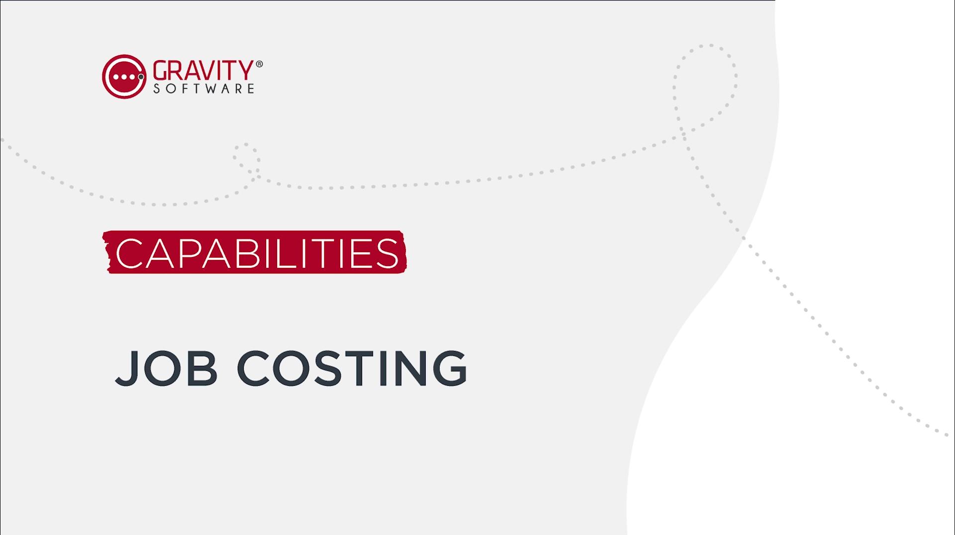 Gravity Software Job Costing