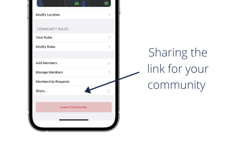 Sharing the link of your community