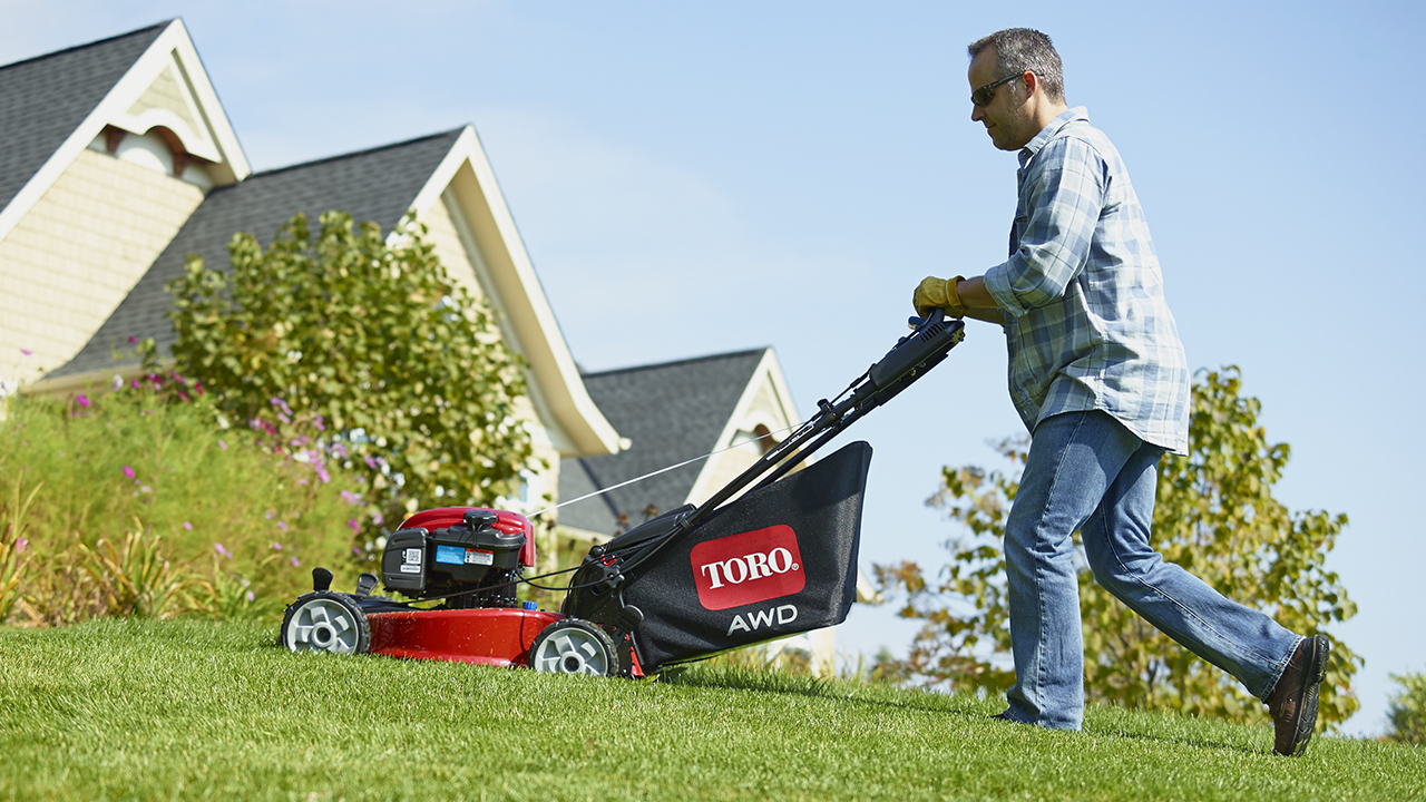 Toro's NEW All Wheel Drive self propel lawn mower gives you the extra traction for mowing hills and other tough conditions. Visit http://www.toro.com/awd for more details.