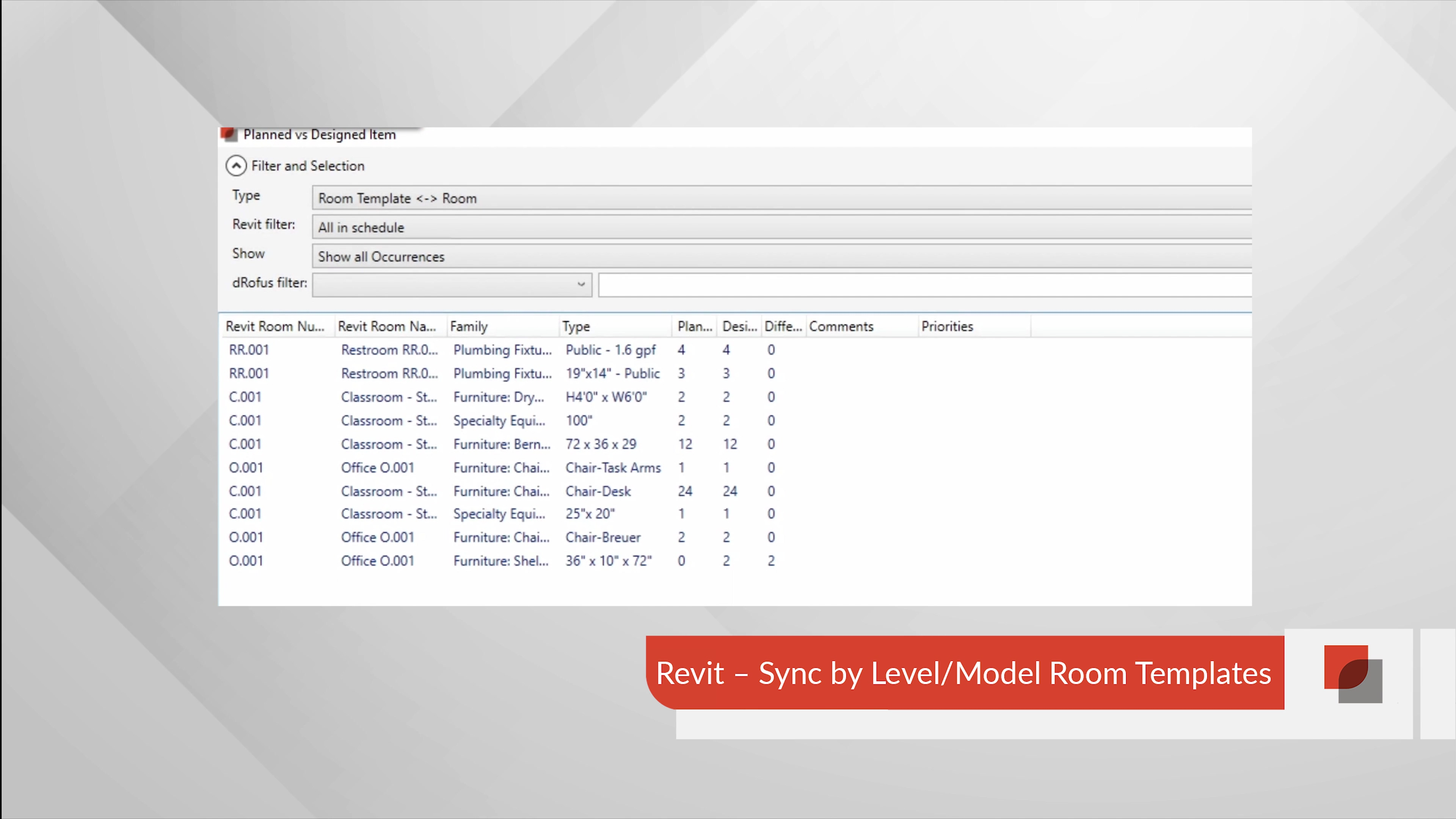 14 - Revit Sync by Level-Model Room Templates-1