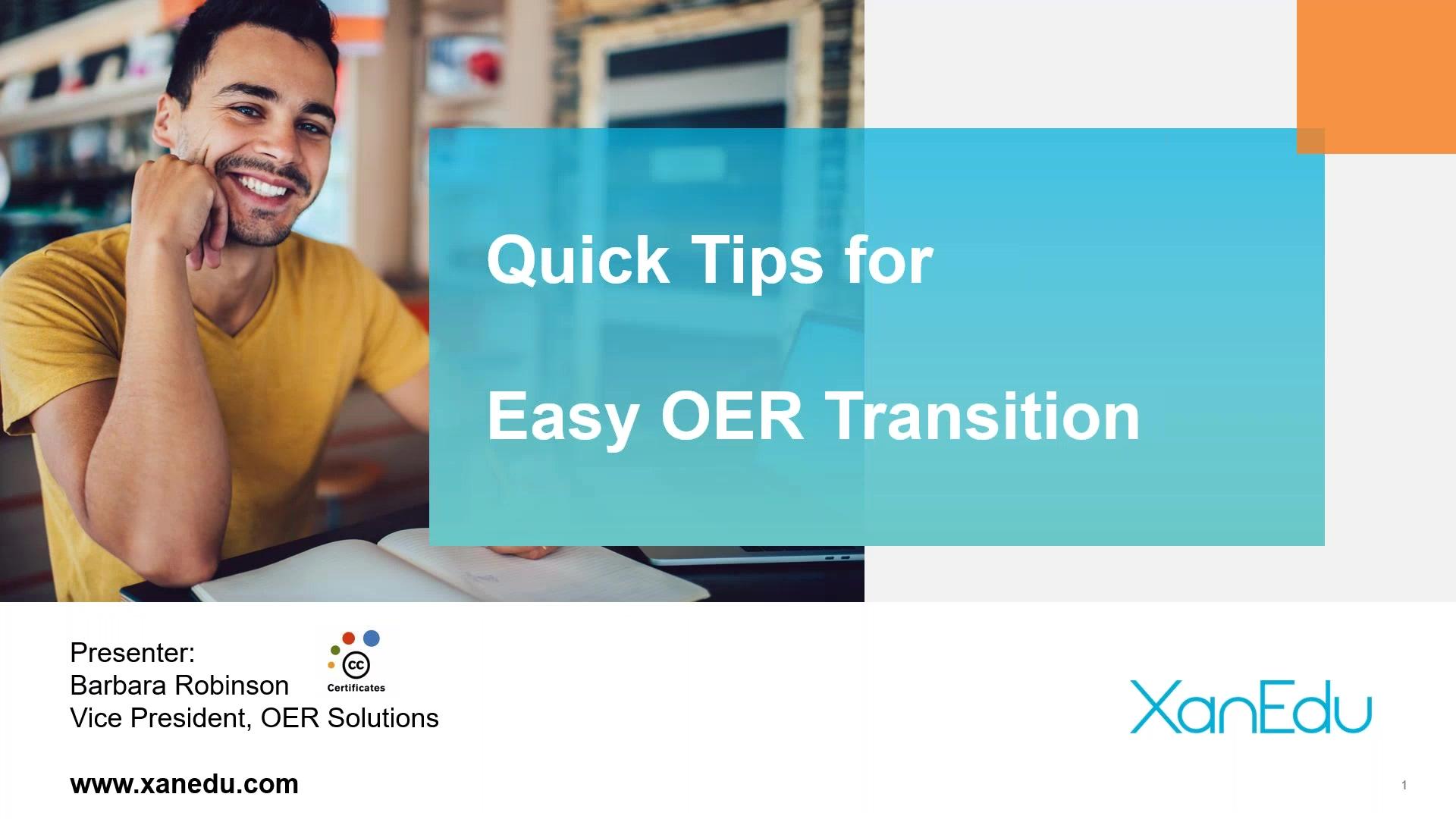 XanEdu Webinar Quick Tips for Easy OER Transition
