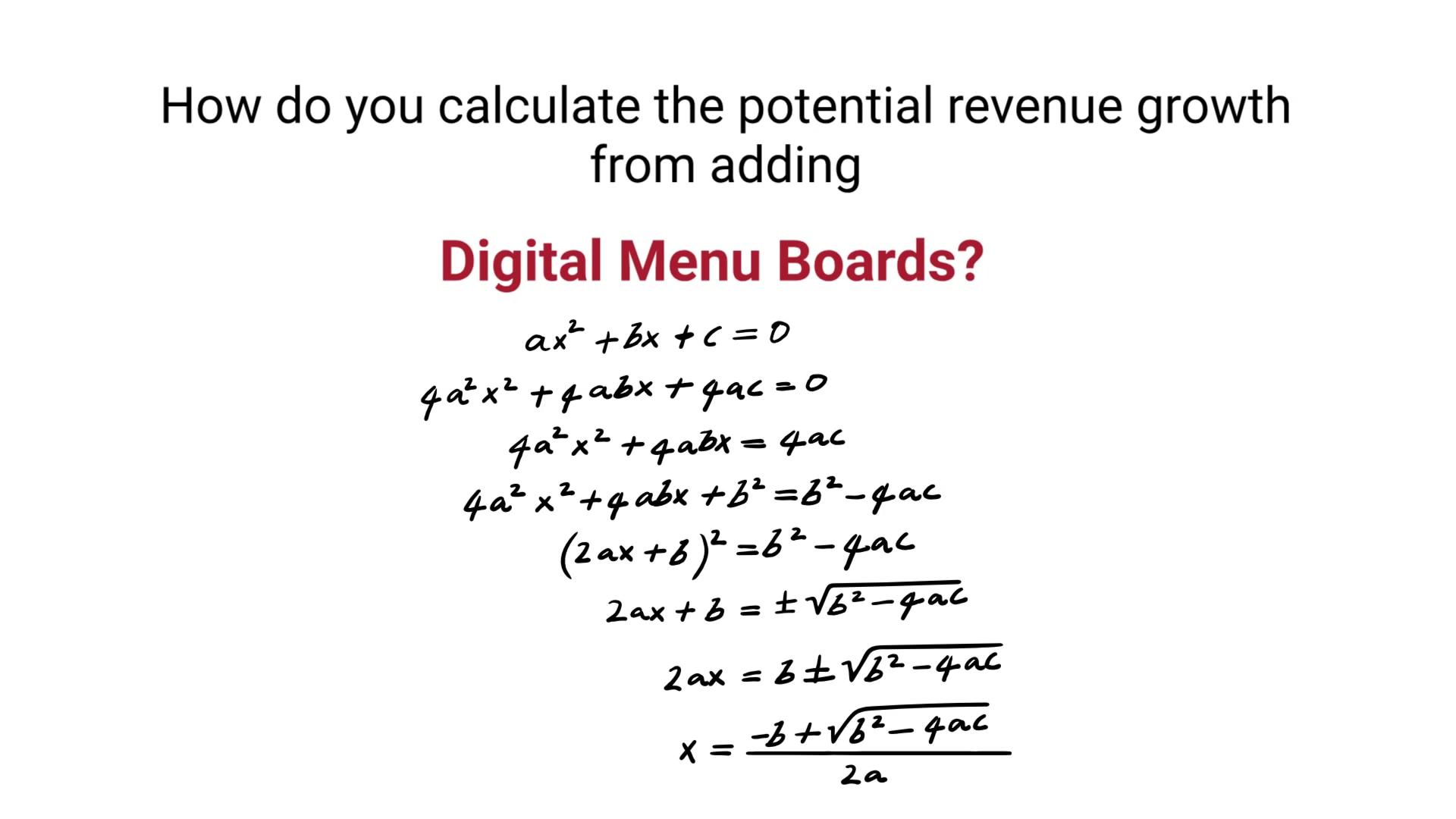 Digital Menu Board Math